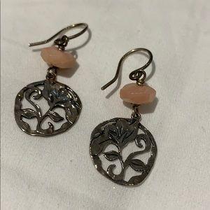 Sterling silver and rose quartz flower earrings